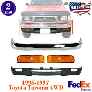 Front Bumper Chrome Steel + Valance + Lights For 1995-1997 Toyota Tacoma 4wd