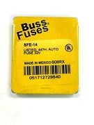 New Lot Of 25 Individual Sfe-14 Bussmann 14 Amp Fuses In Metal Lid Package