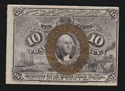 Us 10c Fractional Currency 2nd Issue Fiber Paper Fr 1249 Xf-au