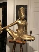 Antique/ Vintage Indra 15th Century Nepal Wood Carved Statue Andldquolocal Pick Upandrdquo