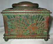 Antique L.c.t. Studios Nyc Usa Beaded Bronze Favrile Glass Pen Inkwell