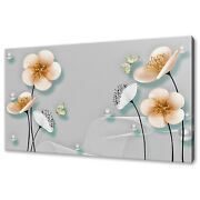 Beautiful Abstract 3d Flowers Butterflies Box Canvas Print Wall Art Picture