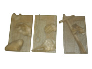 Rare Heavy Thick Cast Glass Window Hand Made Plaque Panels Stations Of The Cross