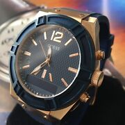 Guess Designer Smart Watch Bluetooth Iphone Android Rose Gold Steel Blue C0001g1