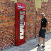 British Red Phone Booth Box Door Front Mirror English Old Style The Kings Bay