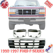 Chrome Grille Plastic + Head Light Door Lh And Rh For 1992-1997 Ford F-series