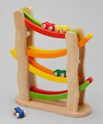 New In Box Pintoy Pin Toy Wooden Wood Rainbow Slope Toy Car Ramp - 4 Cars