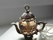 73a Solid Silver Traditional Teapot Charm/pendant With Beautiful Yellow Gem