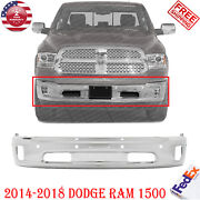 Front Bumper Chrome Steel With Pas And Fl Holes For 2014 -2018 Dodge Ram 1500