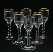 6x Antique 18th C Crystal Wine Glass Ca. 1770 Gilt Rim And Base And Faceted Cut
