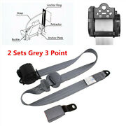 2x Universal 3 Point Retractable Car Seat Belt Lap Adjustable Iron Plate Style