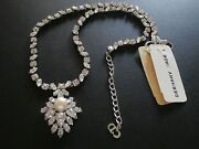 Christian Dior Signed Necklace Rhodium Plated Set With Diamante And Pearl