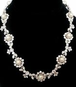 Christian Dior Signed Rhodium Plated Necklace Set With Diamante And Pearls
