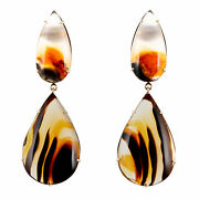 Peter Suchy Banded Agate Dangle Earrings 14k Yellow Gold