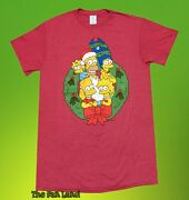 New The Simpsons Family Wreath Rustic Christmas Mens Vintage T-shirt