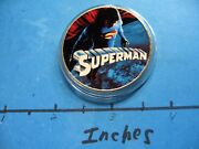 Superman Routh Dc Comics Enamel Colored Hollywood Nickel Copper Coin Rare M