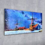Wall Picture Glass Print Art Painting Wind Mill Farm Water Sky Building 100x50