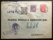 1903 London England Dresdner Bank Late Fee Cover To Coln Germany Perfin Stamp