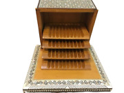 Egyptian Wood Cigarette Box Case Inlaid Mother Of Pearl Handmade Inlay Vintage