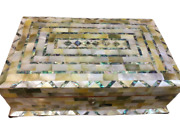 M40 Vintage Egyptian Wood Jewelry Box Inlaid Mother Of Pearl Handmade 11 Inch