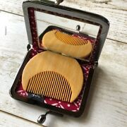 Japanese Retro Style Compact Mirror And Comb Set Kyoto Souvenir Free Shipping