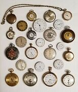 Antique/ Vintage Pocket And Pendant Watches Lot Of 25 - For Parts Or Repairs