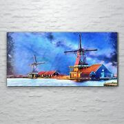 Wall Picture Glass Print Art Painting Wind Mill Farm Water Sky Building 120x60