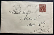 1937 Norwich England Fire Insurance Cover Perfin Stamp Locally Used