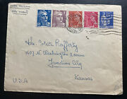 1949 Paris France Airmail Cover To Junction City Ks Usa