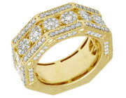 Mens 14k Yellow Gold Flower Cluster Octagon Real Diamond Pinky Ring 10mm 2ct