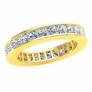 Stackable Classic Channel Set Eternity Band Ring Princess Cut Diamond 10k Gold