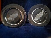 Steuben 2 Crystal Plates Signed/ Engraved Images Ruffed Grouse And...