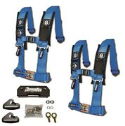 Pro Armor 4 Point 3 Padded Seat Harness Pair Mount Kit Bypass Blue General