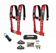 Pro Armor 4 Point 3 Padded Seat Harness Pair Mount Kit Bypass Red General