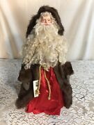 """Vintage Handcrafted Father Christmas Old World Santa Doll 18"""" Candy Nuebel"""