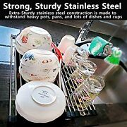 [premium Quality] 304-stainless Steel Roll-up Dish Drying Rack Water Drainer