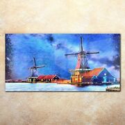 Acrylic Glass Image Print Painting Wind Mill Farm Water Sky Building 140x70