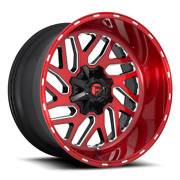 4 22x10 Fuel Candy Red W/black Triton Wheels 8x170 For 03-19 Ford F-250 F-350