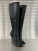 Mori Made In Italy High Heel Knee Boots Stiefel Stivali Leather Black Nero 37-45