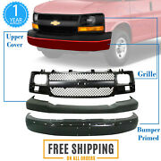 Front Bumper Paintable + Upper Cover + Grille For 2003-2017 Chevy Express Van