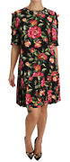 Dolce And Gabbana Dress Crystal Roses Black A-line Shift It44/ Us10 / L Rrp 3300