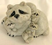 Gray Stone 5 Quarry Critters Playful Litter Of 3 Racoons With Mom Figurine