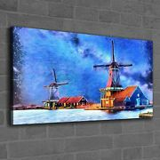 Canvas Print Photo Picture Painting Wind Mill Farm Water Sky Building 120x60