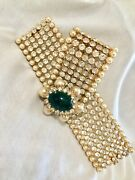 Signed Vogue Vintage Bracelet. Large Clear Rhinestones, Pearls And Emerald Cabo