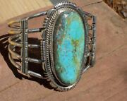 New Sterling Silver Large Natural Bisbee Turquoise Bracelet Navajo Russell Sam