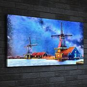 Canvas Print Photo Picture Painting Wind Mill Farm Water Sky Building 140x70