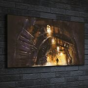 Canvas Print Photo Picture Image Framed Inside Of The Mine Shaft With Fog 140x70
