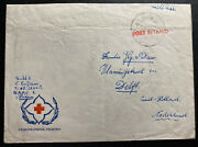 1954 Netherlands Air Force Veldpost 10 Napo 1 Red Cross Cover To Delft
