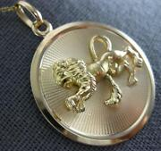 Estate Large 18kt Yellow Gold 3d Classic Handcrafted Happy Lion Floating Pendant