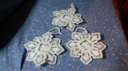Three Beautiful Crafted Snowflake Christmas Ornaments